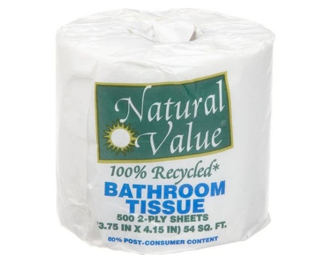 Natural Value 100 Percent Recycled Bathroom Tissue - 500 sheets per roll -- 48 rolls per case.