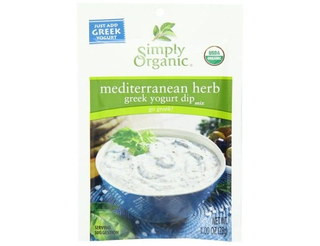 Simply Organic Mediterranean Herb Greek Yogurt Dip Mix, 1 Ounce -- 12 per case.