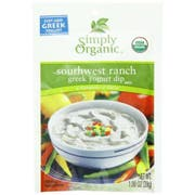 Simply Organic Southwest Ranch Greek Yogurt Dip Mix, 1 Ounce -- 12 per case.