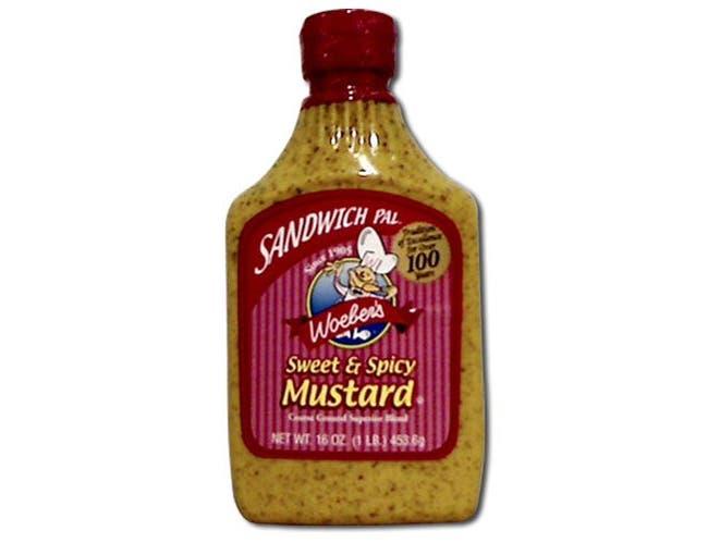 Woebers Mustard Sweet N Spicy - 16 ounce  -- 6 per case.