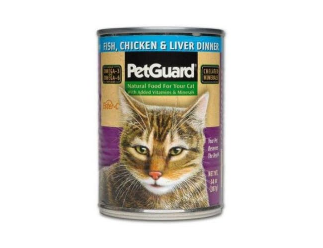 Pet Guard Fish Chicken and Liver Dinner Canned Cat Food, 13.2 Ounce -- 12 per case.