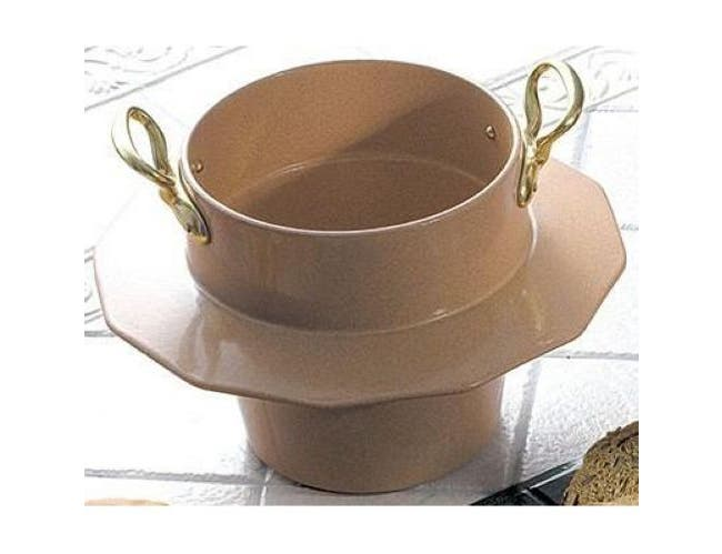 Black Bon Chef Sandstone Soup Bowl with Collar and 2 Brass Handle, 5 Quart -- 1 each.