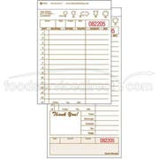 National Checking Company Carbonless Guest Check Board - 2 Part Tan, 15 Line, 4.20 x 8.5 inch -- 2000 per case.