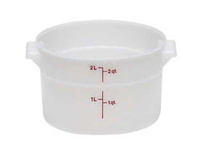 White Round Plastic Container, White, 2 Quart -- 1 Per Case