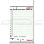 National Checking Company Carbonless Guest Check Board - 2 Part Green, 13 Line, 4.20 x 7.25 inch -- 2000 per case.