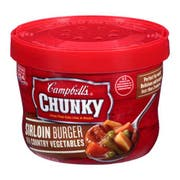 CHUNKY Sirloin Burger Bowl Soup with Country Vegetables - 15.25 oz. microwavable bowl, 8 per case