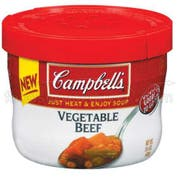 Campbells Vegetable Beef Soup - 15.4 oz. microwavable bowl, 8 per case