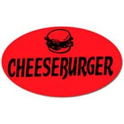 National Checking Cheeseburger Oval Deli Label, 0.875 x 1.5 inch -- 1000 per case.