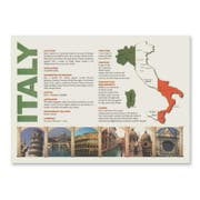 Hoffmaster Map Of Italy Paper Placemat, 10 x 14 inch -- 1000 per case.