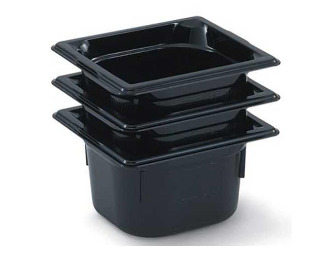 Vollrath Super Pan Black Low Temperature Plastic Sixth Size Pan -- 6 per case.