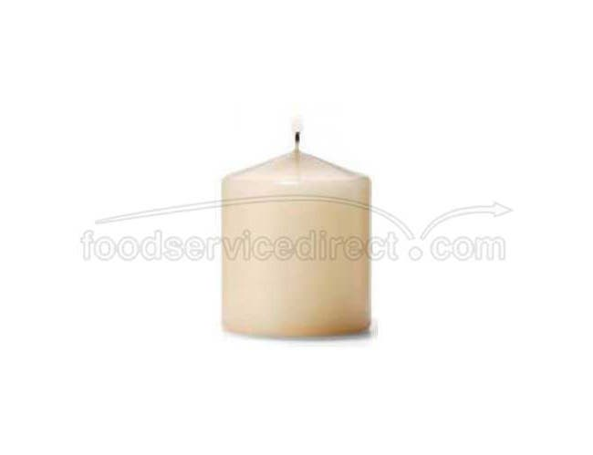Hollowicks Select Wax Ivory Pillar Candle, 3 inch Height -- 12 per case