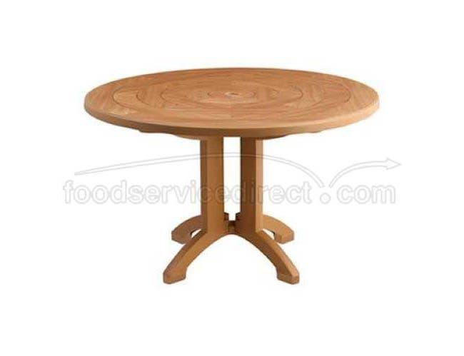 Grosfillex Atlantis Teakwood Round Resin Pedestal Table with Umbrella Hole, 48 inch -- 1 each.