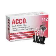 ACCO Small Binder Clips, Steel Wire, 5/16 inch Cap., 3/4 inchw, Black/Silver, Dozen