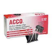 ACCO Medium Binder Clips, Steel Wire, 5/8 inch Cap., 1-1/4 inchw, Black/Silver, Dozen