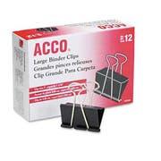 ACCO Large Binder Clips, Steel Wire, 1 1/16 inch Capacity, 2 inchw, Black/Silver, Dozen