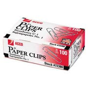 ACCO Smooth Economy Paper Clip, Steel Wire, No. 1, Silver, 100/Box, 10 Boxes/Pack