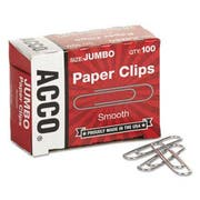 ACCO Smooth Economy Paper Clip, Steel Wire, Jumbo, Silver, 100/Box, 10 Boxes/Pack