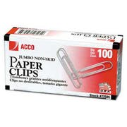 ACCO Nonskid Economy Paper Clips, Steel Wire, Jumbo, Silver, 100/Box, 10 Boxes/Pack