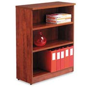 Alera Valencia Series Bookcase, Three-Shelf, 31 3/4w x 14d x 39 3/8h, Medium Cherry