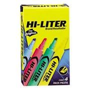 HI-LITER Desk Style Highlighter, Chisel Tip, Assorted Colors, 4/Set