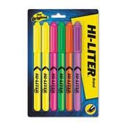HI-LITER Pen Style Highlighter, Chisel, Assorted Fluorescent Colors, 6/Set