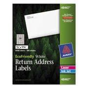 Avery EcoFriendly Laser/Inkjet Mailing Labels, 1/2 x 1 3/4, White, 8000/Pack