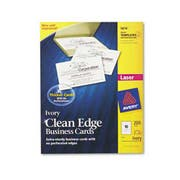 Avery Two-Side Printable Clean Edge Business Cards, Laser, 2 x 3 1/2, Ivory, 200/Pack