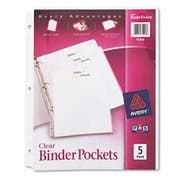 Avery Binder Pockets, 3-Hole Punched, 9 1/4 x 11, Clear, 5/Pack