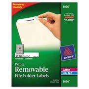 Avery Removable File Folder Labels, Inkjet/Laser, 2/3 x 3 7/16, White, 750/Pack