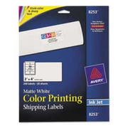 Avery Color Printing Mailing Labels, 2 x 4, Matte White, 200/Pack
