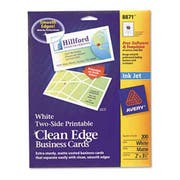 Avery Two-Side Printable Clean Edge Business Cards, Inkjet, 2 x 3 1/2, White, 200/Pack
