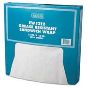 Bagcraft Papercon Grease-Resistant Paper Wrap/Liner, 12 x 12, White, 1000/Box, 5 Boxes/Carton
