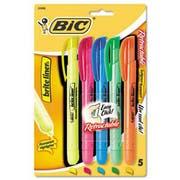 BIC Brite Liner Retractable Highlighter, Chisel Tip, Five-Color Set