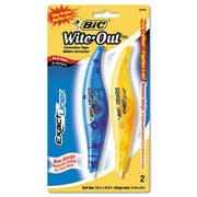 BIC Wite-Out Exact Liner Correction Tape Pen, 1/5 inch x 236 inch, Blue/Orange, 2/Pack