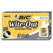 BIC Wite-Out Quick Dry Correction Fluid, 20 ml Bottle, White, 3/Pack