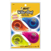 BIC Wite-Out EZ Correct Correction Tape, Non-Refillable, 1/6 inch x 400 inch, 4/Pack