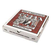 PIZZA Box Takeout Containers, 10in Pizza, White, 10w x 10d x 1 3/4h, 50/Bundle