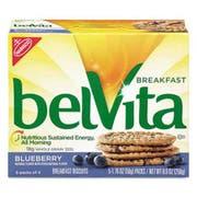 Nabisco belVita Breakfast Biscuits, Blueberry, 1.76 oz Pack, 64/Carton