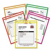 C-Line Stitched Shop Ticket Holder, Neon, Assorted 5 Colors, 75 inch, 9 x 12, 25/BX