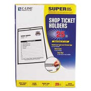 C-Line Shop Ticket Holders, Stitched, Both Sides Clear, 75 inch, 9 x 12, 25/BX