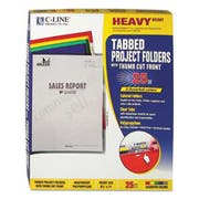 C-Line Heavyweight Tabbed Jacket Project Folders, Letter, Poly, Assorted Colors, 25/Box
