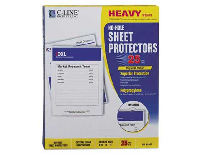 C-Line Top-Load No-Hole Polypropylene Sheet Protector, Heavyweight, Clear, 2 inch, 25/Box