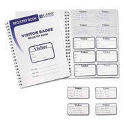 C-Line Visitor Badges with Registry Log, 3 1/2 x 2, White, 150/Box