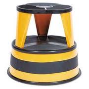 Cramer Kik-Step 2-Step Steel Step Stool, 16 dia. x 14 1/4h, to 350lb, Orange