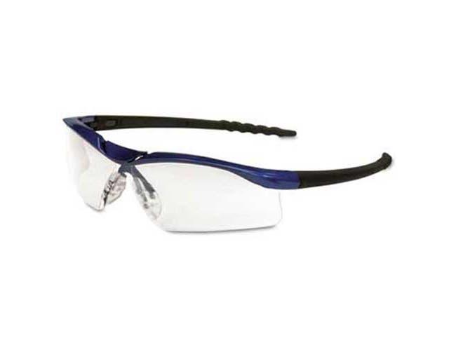 Crews Dallas Wraparound Safety Glasses, Metallic Blue Frame, Clear AntiFog Lens