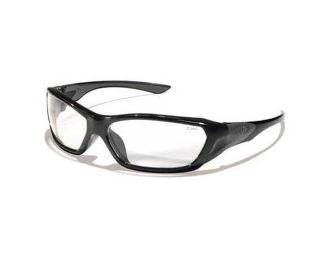 Crews ForceFlex Safety Glasses, Black Frame, Clear Lens