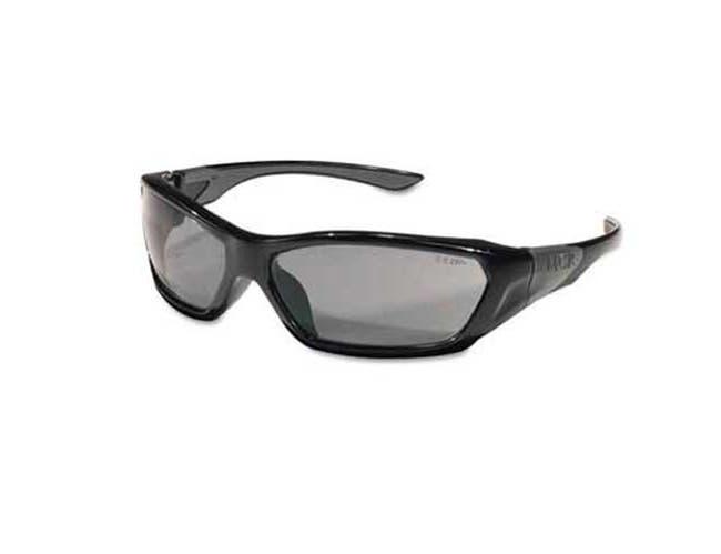 Crews ForceFlex Safety Glasses, Black Frame, Gray Lens