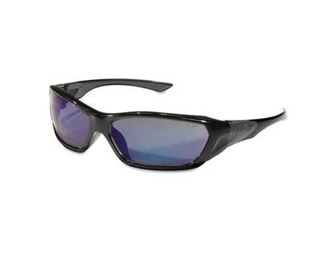 Crews ForceFlex Safety Glasses, Black Frame, Blue Lens