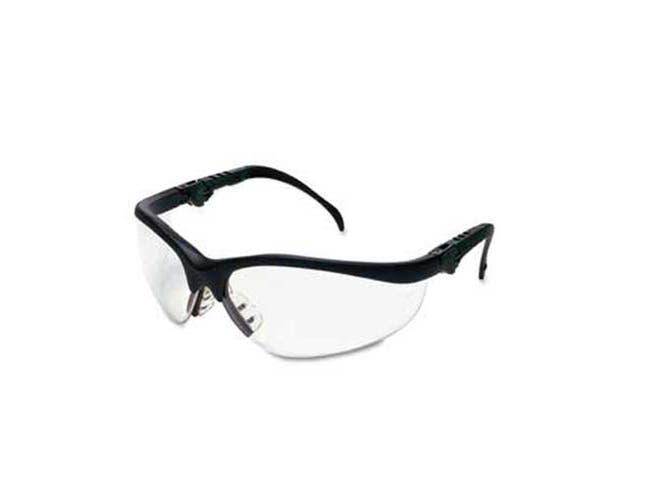Crews Klondike Plus Safety Glasses, Black Frame, Clear Lens