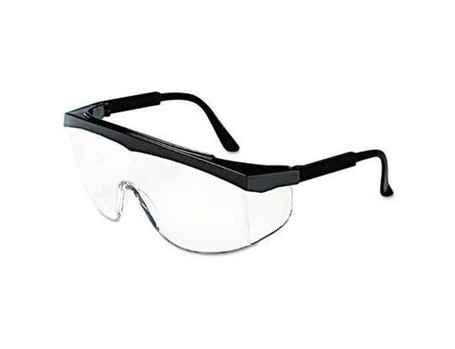 Crews Stratos Safety Glasses, Black Frame, Clear Lens, 12 per box -- 1 box per case.
